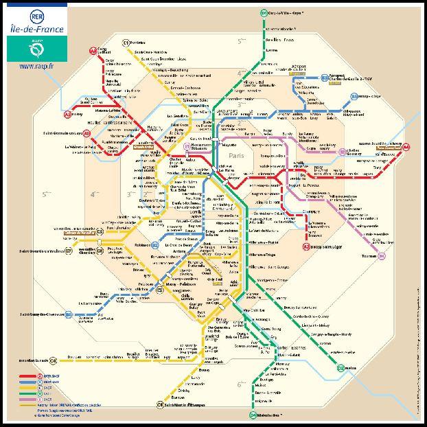 Карта маршрута следования до Диснейленда по красной ветке A4 на RER