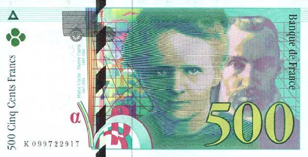 А это купюра старой денежной валюты Франции - франка, последнего года выпуска перед введением евро