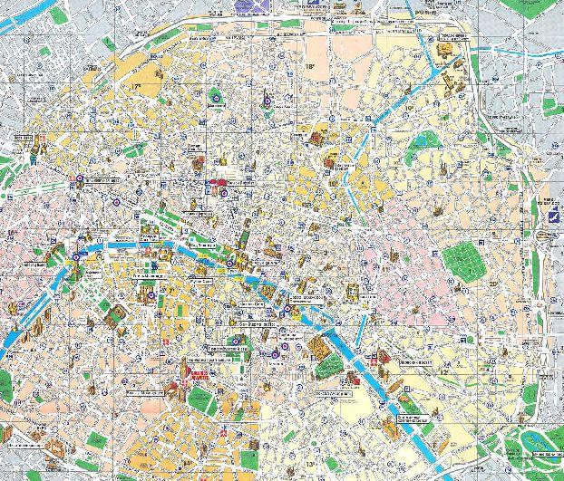 Карта достопримечательностей Парижа на русском языке