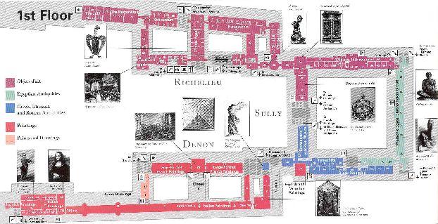 Карта 1-го этажа Лувра