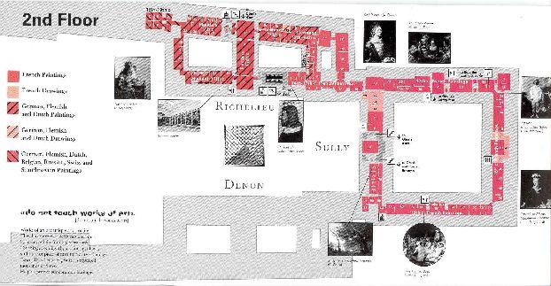 Карта 2-го этажа Лувра