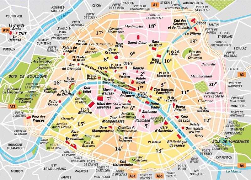 Общая карта округов Парижа