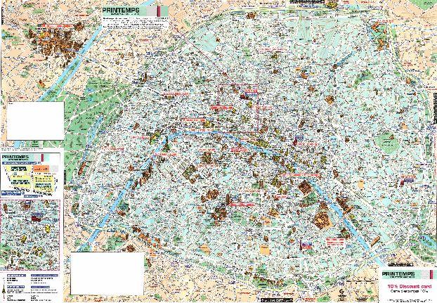 Подробная карта достопримечательностей Парижа