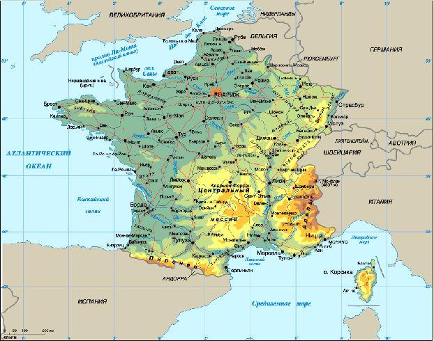 Расположение Парижа на карте Франции