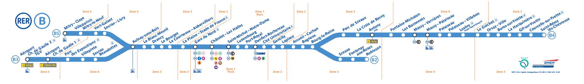 Карта станций ветки B