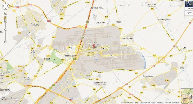 Расположение аэропорта Шарль де Голль на карте Парижа