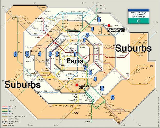 Карта транспортных зон Парижа